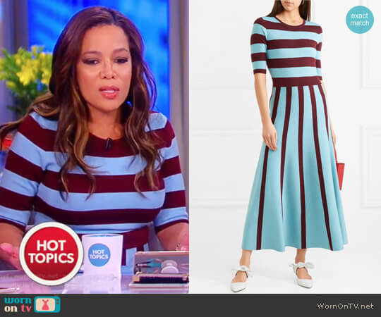 Capote striped wool-blend midi dress by Gabriela Hearst worn by Sunny Hostin on The View