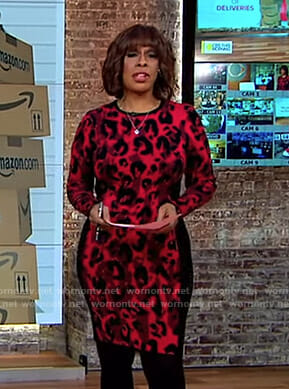 Gayle's red leopard print dress on CBS This Morning