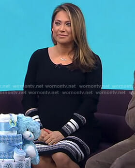 Ginger's black striped knit dress on Good Morning America