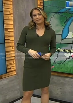 Ginger's green v-neck dress on Good Morning America