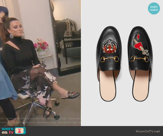 Princetown Slipper with Appliqués by Gucci worn by Kyle Richards on The Real Housewives of Beverly Hills