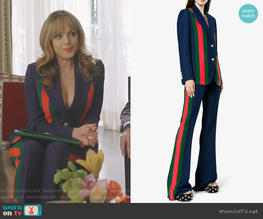 Striped Wool and Silk-Blend Blazer and flare pants by Gucci worn by Elizabeth Gillies on Dynasty