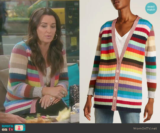 Striped Cashmere and Wool-Blend Cardigan by Gucci worn by Kyle Richards (Kyle Richards) on The Real Housewives of Beverly Hills