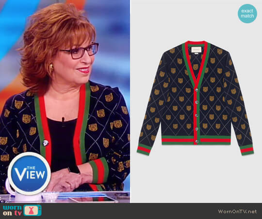 Tiger Argyle Wool Cardigan by Gucci worn by Joy Behar on The View