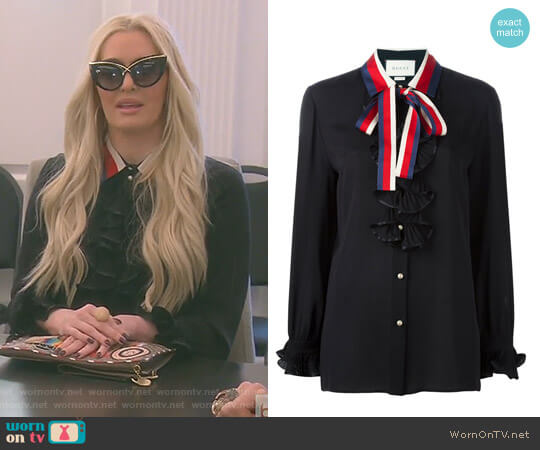 Contrast Collar Silk Shirt by Gucci worn by Erika Girardi on The Real Housewives of Beverly Hills