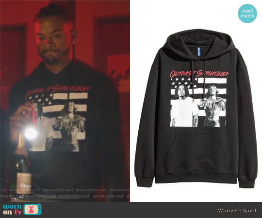 Printed Hooded Sweatshirt by H&M worn by Trevor Jackson on Grown-ish