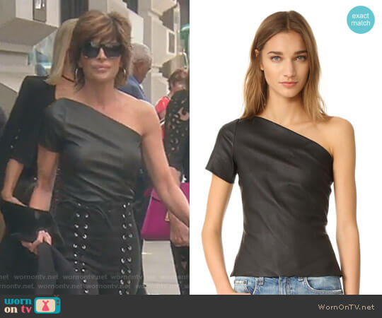 Asymmetrical One Shoulder Leather Top by Helmut Lang worn by Lisa Rinna on The Real Housewives of Beverly Hills