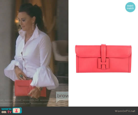 Jige Clutch Bag by Hermes worn by Kyle Richards  on The Real Housewives of Beverly Hills