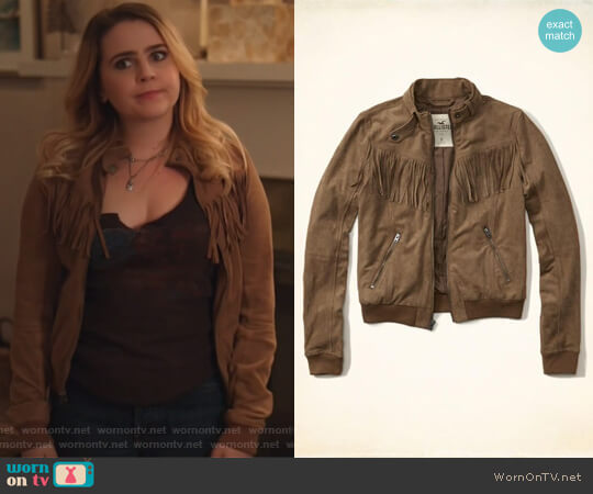 Tan Faux Suede Fringe Moto Bomber by Hollister worn by Mae Whitman on Good Girls
