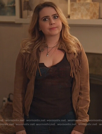 Annie's brown fringe bomber jacket on Good Girls