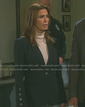 Hope's navy buttoned sleeve blazer on Days of our Lives