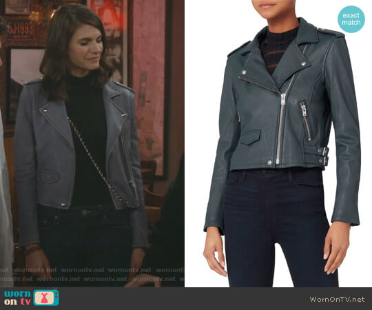 Ashville Blue Cropped Leather Jacket by IRO worn by Leslie Curry (Lindsey Kraft) on Living Biblically