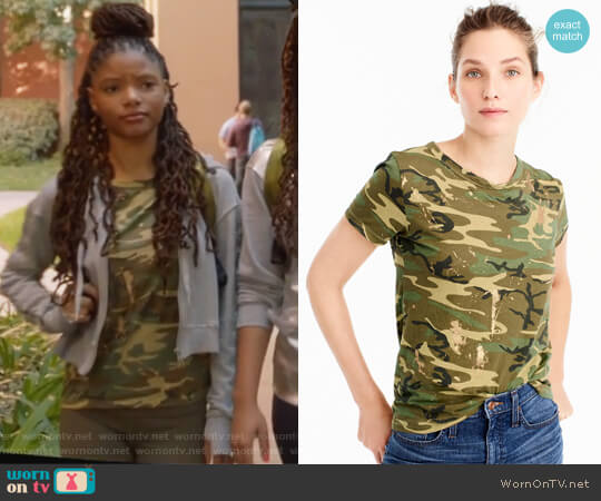 Camo T-shirt by J. Crew worn by Skylar Forster (Halle Bailey) on Grown-ish