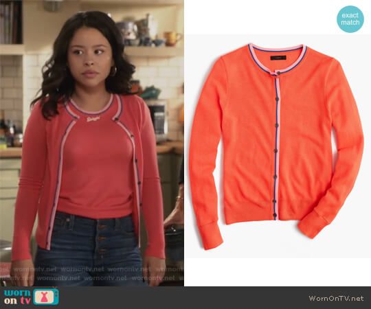 Tipped Jackie Cardigan by J. Crew worn by Mariana Foster (Cierra Ramirez) on The Fosters