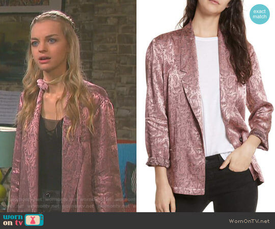 Jacquard Blazer by Free People worn by Claire Brady (Olivia Rose Keegan) on Days of our Lives