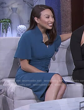 Jeannie's green ruched front dress on The Real