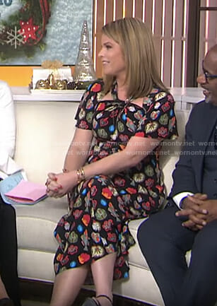 Jenna's black fish print dress on Today