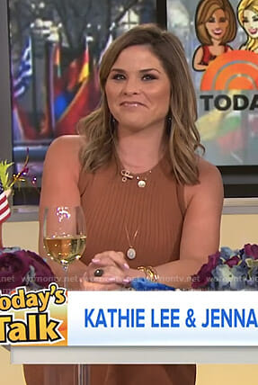 Jenna's brown ribbed sleeveless dress on Today