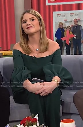 Jenna's green off-shoulder top and pants on Today