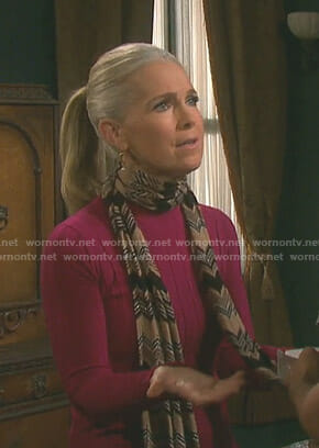 Jennifer's pink ribbed sweater on Days of our Lives