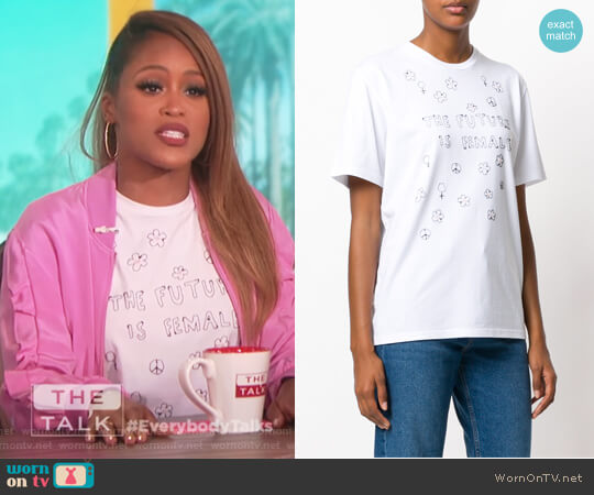 Future is Female embroidered T-shirt by Jimi Roos worn by Eve on The Talk