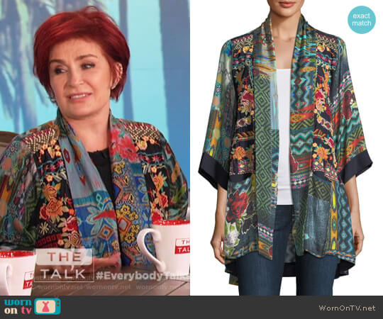 Koben Canvas Embroidered Twill Kimono by Johnny Was worn by Sharon Osbourne  on The Talk