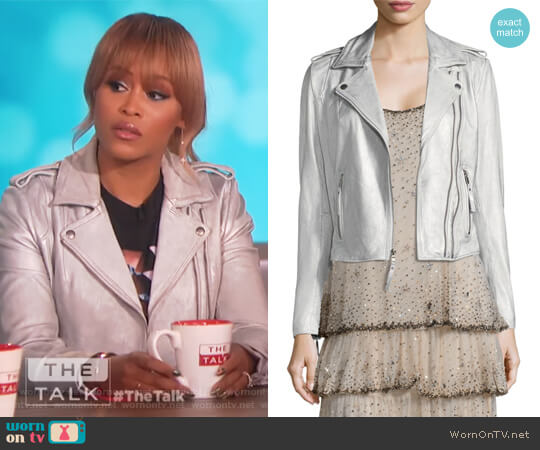 Leolani Metallic Leather Biker Jacket by Joie worn by Eve on The Talk