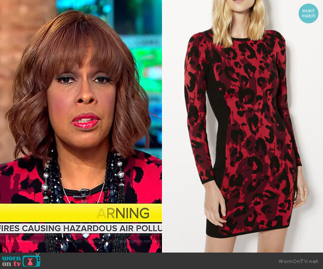 Leopard Pencil Dress by Karen Millen worn by Gayle King (Gayle King) on CBS This Morning