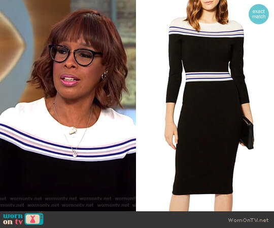 Striped Knit Midi Dress by Karen Millen worn by Gayle King (Gayle King) on CBS This Morning