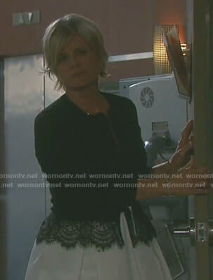 Kayla's bow print dress and lace trimmed cardigan on Days of our Lives