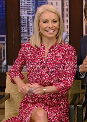 Kelly's pink floral shirtdress on Live with Kelly and Ryan