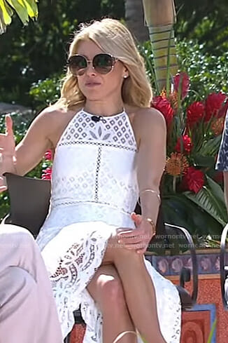 Kelly's white lace halter dress on Live with Kelly and Ryan