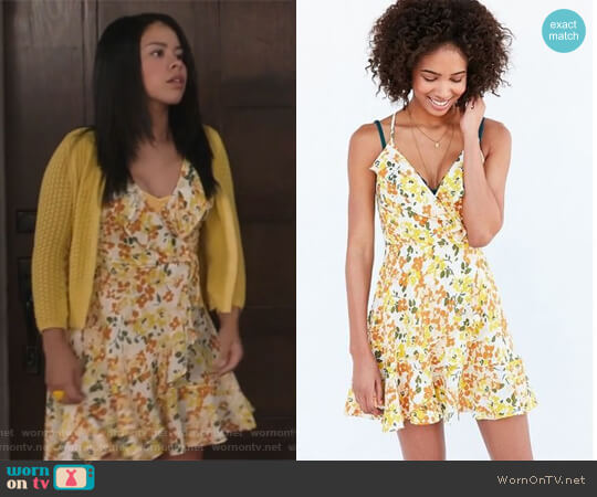 Sabina Ruffle Wrap Mini Dress by Kimchi Blue worn by Mariana Foster (Cierra Ramirez) on The Fosters