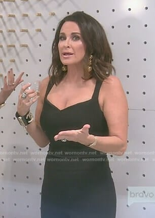 Kyle's black open back jumpsuit on The Real Housewives of Beverly Hills