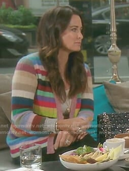 Kyle's multi-color striped cardigan on The Real Housewives of Beverly Hills