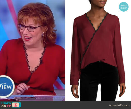 Rosario Lace Trimmed Silk Top by L'Agence worn by Joy Behar  on The View