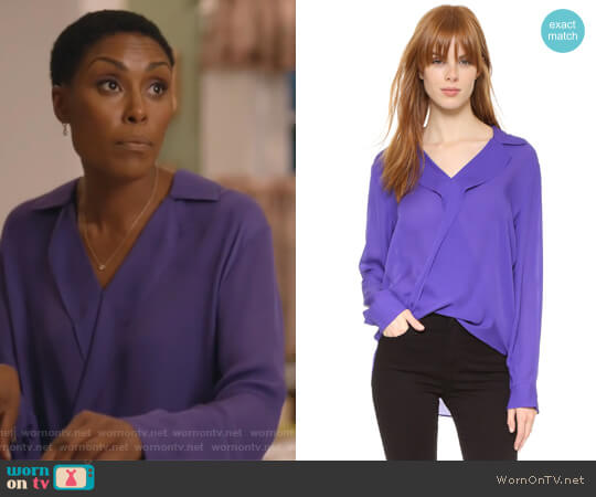 'Rita' Silk Double Georgette Blouse by L'Agence worn by Christine Adams on Black Lightning