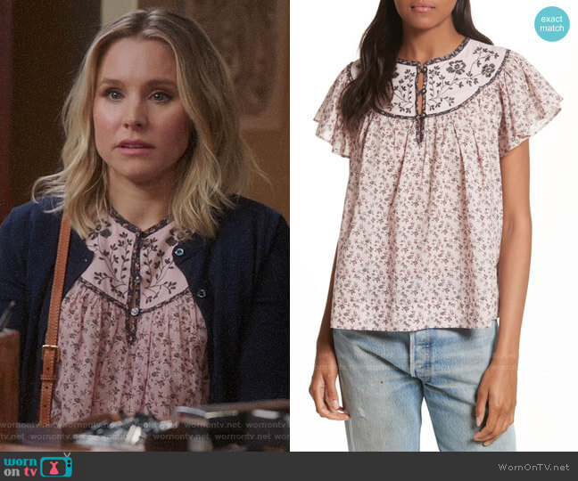 La Vie Rebecca Taylor Embroidered Yoke Top worn by Eleanor Shellstrop (Kristen Bell) on The Good Place