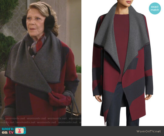Reversible Jacquard Cashmere Cardigan by Lafayette 148 New York worn by Linda Lavin on 9JKL