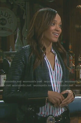 Lani's white belt printed blouse and pleated jacket on Days of our Lives
