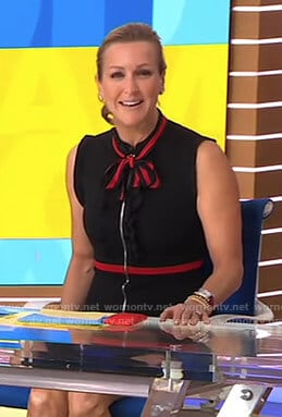 Lara's black zip front tie neck dress on Good Morning America
