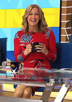 Lara's red floral dress on Good Morning America