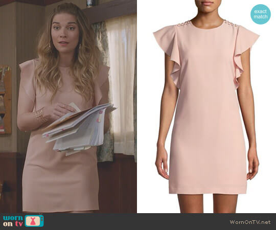 Ruffle Cap-Sleeve Sheath Dress by Laundry by Shelli Segal worn by Alexis Rose (Annie Murphy) on Schitts Creek