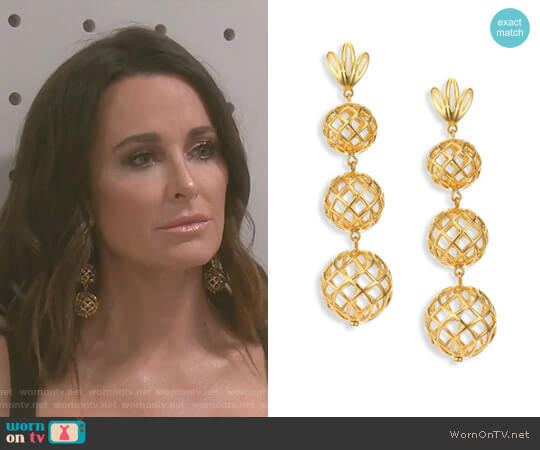 Tiered Pineapple Clip-On Drop Earrings by Lele Sadoughi worn by Kyle Richards on The Real Housewives of Beverly Hills