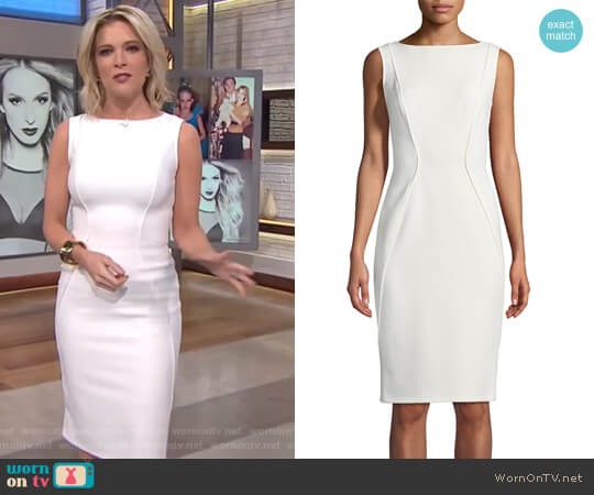 Sleeveless Boat-Neck Sheath Dress by Lela Rose worn by Megyn Kelly on Today