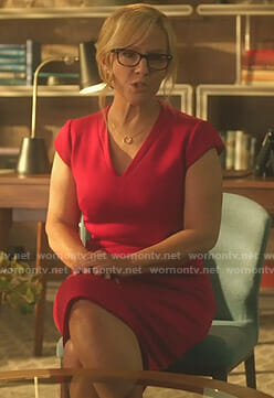 Linda's red v-neck dress on Lucifer
