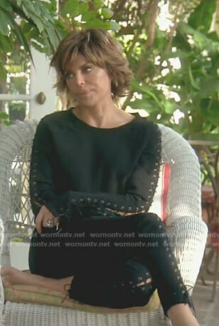Lisa's black lace-up sweatshirt and pants on The Real Housewives of Beverly Hills