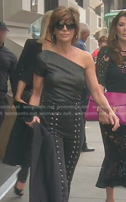 Lisa's black one-shoulder leather top and lace-up pants on The Real Housewives of Beverly Hills