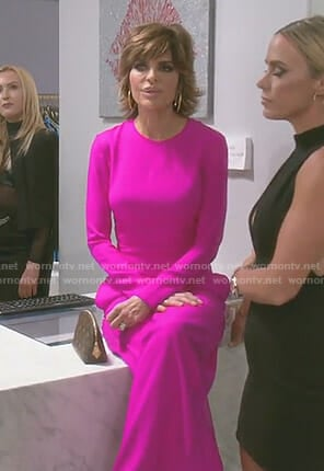 Lisa's black laser cut midi dress on The Real Housewives of Beverly Hills