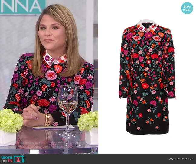 Long Sleeve Tunic Dress With Collar by Lela Rose worn by Jenna Bush Hager (Jenna Bush Hager) on Today